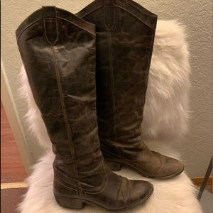Steve Madden Manor Distressed Leather Riding Boot